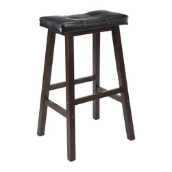 Winsome Wood - Mona Saddle Seat Bar Stool - Black faux leather seat. Made from PVC and wood. Antique walnut finish. Assembly required. Seat height: 29 in.. Overall: 18.19 in. W x 15.75 in. D x 29.76 in. H. Accommodates up to 200 lbs