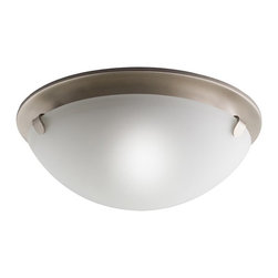 KICHLER - KICHLER Transitional Flush Mount Ceiling Light X-IN3007 - Contemporary styling with casual lines, this Kichler Lighting flush mount ceiling light features a clean Brushed NIckel finish with an elegant, soft satin etched glass shade to complete the look.