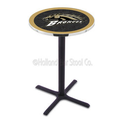 Holland Bar Stool - Holland Bar Stool L211 - Black Wrinkle Western Michigan Pub Table - L211 - Black Wrinkle Western Michigan Pub Table belongs to College Collection by Holland Bar Stool Made for the ultimate sports fan, impress your buddies with this knockout from Holland Bar Stool. This L211 Western Michigan table with cross base provides a commercial quality piece to for your Man Cave. You can't find a higher quality logo table on the market. The plating grade steel used to build the frame ensures it will withstand the abuse of the rowdiest of friends for years to come. The structure is powder-coated black wrinkle to ensure a rich, sleek, long lasting finish. If you're finishing your bar or game room, do it right with a table from Holland Bar Stool. Pub Table (1)