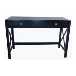 Linon - 2 Drawer Desk in Antique Black Finish - Necessary paperwork can be done in uncommon style with this Lap Top Desk! You'll love this desk's agreeable, angular accents and uncompromising quality. Desk top has loads of space - handles your work plus a lamp or other accessories. Designer-grade hardware displays fine detail and superior finish. X-frame sides promote open design and add sure-footed strength. Anna Collection. Use as a writing desk or a lap top desk. 2 Storage drawers for your office essentials. Spacious work top. Solid and durable construction from Pine and painted MDF. Minimal assembly required. 20.50 in. L x 47.25 in. W x 30.83 in. HWhether your style is traditional or modern the stunning Antique Black finish with red rub through Anna Desk will blend seamlessly into your decor. Designed to be used as a writing desk or a lap top desk. Featuring one large storage drawer for your office essentials and a spacious work top, you will be organized and efficient in no time at all.