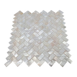 Stone Tile Mosaics - Mother of Pearl Herringbone Oyster White Backsplash Mosaic Shell Tile - Premium Grade Mother of Pearl Natural Sea Shell mosaic tile for floor and wall use.