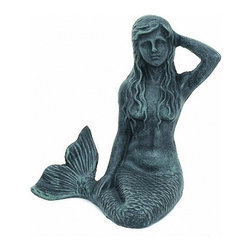 "Handcrafted Model Ships - Seaworn Cast Iron Mermaid Paperweight 7"" - Nautical Bedroom Decoration - This Seaworn Cast Iron Mermaid Paperweight 7"" is the perfect addition for any beach themed home. Handcrafted from cast iron this paperweight is durable, decorative and charming. If you are looking for unique beach coastal decor, use our seaworn cast iron mermaid paperweight to hold important documents securely to any flat surface."