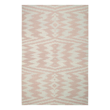 """Uzbek rug in Blush Pink - """"The indigenous patterns from the east are contagious, folky and powerful.  This rug plays with what's familiar in these woven wonders and pushes it in its patterning to the next level.  I love the juxtaposition of familiar and the unknown."""" - Genevieve Gorder"""