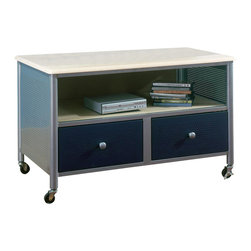 Hillsdale Furniture - Youth TV Cart On Locking Casters With Silver - * For residential use. Silver and navy finish. Sturdy welded tubular steel and metal mesh construction. Minor assembly may be required . 38 in. W x 22 in. D x 33.5 in. H
