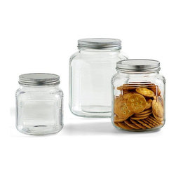 Glass Jars with Aluminum Lids - Instead of keeping a mess of bags of flour in the cupboard, I purchased a few of these great glass jars with lids to keep my flour, sugars and grains fresh and my pantry well organized. It's easy to see how much you have left with the clear glass sides.