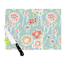 """Kess InHouse - Gill Eggleston """"Folky Floral Light Jade"""" Blue Teal Cutting Board (11"""" x 7.5"""") - These sturdy tempered glass cutting boards will make everything you chop look like a Dutch painting. Perfect the art of cooking with your KESS InHouse unique art cutting board. Go for patterns or painted, either way this non-skid, dishwasher safe cutting board is perfect for preparing any artistic dinner or serving. Cut, chop, serve or frame, all of these unique cutting boards are gorgeous."""