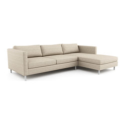 Viesso - Mota Chaise Sectional (Custom) - Lounge elegantly. The deep, low frame and slender proportions make this modern sectional sofa a great fit for any room. Thin, high arms transition smoothly into the back, giving the sofa a light and elegant presence and will give your space a touch of casual sophistication. Please note that if needed, the Mota sectional and its pieces can be made in any size to the inch to fit your space perfectly.