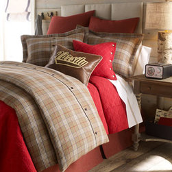 "Daniel Stuart Studio - Daniel Stuart Studio Twin Plaid Duvet Cover, 70"" x 98"" - Classic plaid bed linens he'll never outgrow. ""Mason"" plaid linens with button closure are cotton/acrylic. Red ""Oxford"" accessories are cotton/polyester. Made in Canada by Daniel Stuart Studio. Fabrics are from the USA. Machine wash. Tailored platform...."