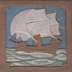 Clipper Ship tile, 6 inch handmade tile - Artists' photo