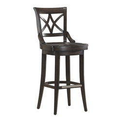 Fremont Stool - This pub chair has a lattice back design that will add a timeless touch to your bar or countertop. It swivels, the seat is contoured to be comfortable and the legs have levelers so there's no rocking or tilting even though your floor does!