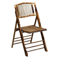 Flash Furniture - American Champion Bamboo Folding Chair - The American Champion Bamboo Folding Chair from Flash Furniture will add a unique presence to your next indoor or outdoor event. Chairs quickly setup and stack easily to be stored away until your next event. Use these chairs in your dining room, patio, pool area or banquet hall.