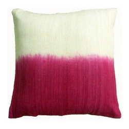 5 Surry Lane - Magenta Pink Ombre Dip Dye Silk Pillow - Saturated colors are juxtaposed with creamy ivory in this ombre-hued pillow. The striations of color from the dyeing process give it a hand-painted feel. In your formal living room, it will add a spark of jewel-toned color.