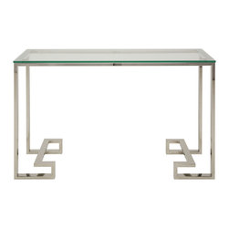 Nuevo Living - Tessa Console - A little detailing goes a long way for this sleek and slender console with an unexpected angular twist in the legs. Looking clean and polished in stainless steel and glass, it's understated enough to suit any contemporary room, but it's got the flair to hold its own among bolder colors and patterns, like your geometric mirror, bold striped wallpaper or rectangular patterned rug.