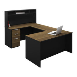 Bestar - Bestar Pro-Concept U-Shaped Workstation with Small Hutch and Pedestal - Bestar - Executive Desks - 11085498 - This commercial collection offers numerous configuration possibilities to customize your work environment. The compact desk dimensions will facilitate your layout while preserving efficiency and well-being.