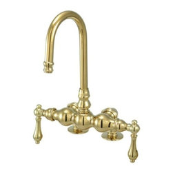 """Kingston Brass - Kingston Brass Polished Brass Vintage Deck Mount Clawfoot Tub Filler CC91T2 - This clawfoot tub filler is constructed of high quality brass to ensure reliability and durability. Its premier finish resists tarnishing and corrosion. All mounting hardware is included and standard US plumbing connections are used. Manufacturer: Kingston BrassModel: CC91T2UPC: 663370095900Product Name: Deck Mount Clawfoot Tub FillerCollection / Series: VintageFinish: Polished BrassTheme: ClassicMaterial: BrassType: FaucetFeatures: Deck mount with 3-3/8"""" spread"""
