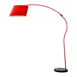 Slant Arc Lamp - Cast new light on your living room with this handsome lamp. Its bold red shade, tilted at a rakish angle, gives impeccable style to the lamp even when the lights are out.
