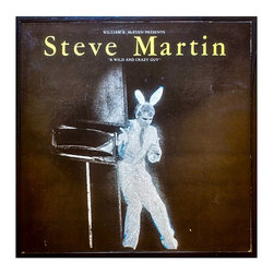 "Glittered Vintage Steve Martin Wild and Crazy Guy Album - Glittered record album. Album is framed in a black 12x12"" square frame with front and back cover and clips holding the record in place on the back. Album covers are original vintage covers."