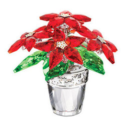 Swarovski - Swarovski Poinsettia Large - Swarovski Crystal Poinsettia Large  -  Size: 3.3 inches wide x 3.1 inches tall  -  Reflecting the colors of Christmas, this magnificent Poinsettia sparkles in Light Siam and Peridot crystal with accents in Light Topaz crystal. The clear crystal flowerpot features silver-tone metal details, adding a modern touch. A beautiful decoration for any festive table!  -  Fine Silver Crystal  -  Made In Austria