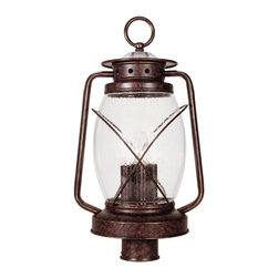 Savoy House - Savoy House 5-3413-56 Smith Mountain Post Lantern - Exterior fixture in New Tortoise Shell finish mimics an antique lantern, Clear Seeded glass.