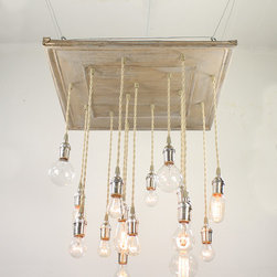 """Urban Chandy - Reclaimed Ceiling Tins Repurposed into Chandelier with varying Edison bulbs, Ant - Reclaimed ceiling tin tiles from old warehouse in Texas repurposed into a hanging light fixture chandelier with 16 pendant lights with varying Edison bulbs. Base is 22""""x22"""" and lowest bulb hangs down 28"""" from base. Length can be adjusted longer/shorter based on your ceiling height. Bulbs and some hardware included. Made to order in Brooklyn, NY, ships in 5-10 business days. Only one connection point on top to power source. Total 258 watts, 120 volts.  We can make it in lots of colors: antique gold, copper, black, antique white, red, blue, pewter, antique silver, dark brown with metallic (black coffee)...let us know if you need something else!"""