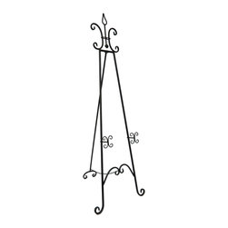 Zeckos - Rustic Black Finish Metal Display Easel 67 in. - This decorative metal easel allows you to position your favorite artwork or family portrait in a location of instant honor This handsome easel lends an elegant accent to your decor, and with 3 positions available, your piece is sure to be in its best light. Measuring 65 inches (165 cm) tall, 22 inches (56 cm) wide and 23.5 inches (60 cm) deep, it'll make a stunning gift for any art collector Note: Some simple assembly is required, and all hardware is included.