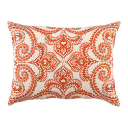 "DL Rhein - DL Rhein Amalfi Persimmon Embroidered Linen Pillow - A divine entanglement of twists and curves unfurl into a beautiful scrolling pattern on the Amalfi pillow. Embroidered in tangy persimmon, this handcrafted pillow by DL Rhein accents a room with a touch of modern elegance. 14"" x 20""; Linen pillow with embroidered detail; Feather down insert included; Dry clean only"