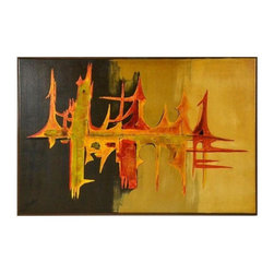 """Pre-owned Mid-Century Modern Abstract Painting - A Mid-Century abstract painting with an eye-catching design in rich hues of yellow, rust, orange and cream. The work is framed and signed, """"Carlo.""""    The painting was sourced from a private estate in Michigan."""