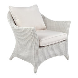 Cape Cod Lounge Chair - By Kingsley Bate - An updated rendition of classic white wicker furniture, our CAPE COD deep seating lounge chair is as durable as it is elegant.  Soft transitional lines allow the lounge chair to be equally suitable for a coastal home or Midwestern sun porch.  Made with the finest all-weather wicker and a rustproof aluminum frame, CAPE COD may be used in either a covered area or one that is completely exposed to the elements.