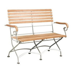 HiTeak Furniture Bistro 2 Seater Bench with Iron Frame