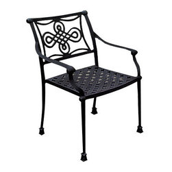 Vienna Cast Aluminum Arm Chair - The sleek design on the backrest of the Vienna Cast Aluminum Arm Chair will transform your patio set from ordinary to refined. Add a patio cushion to coordinate this piece with outdoor color schemes.