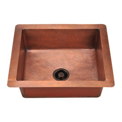 "MR Direct - MR Direct 904 Single Bowl Copper Sink - The 904 single bowl undermount sink is made from 99% pure-mined copper. It is comprised using one piece construction, giving you a very strong and durable copper sink. Since copper is stain resistant, it is great for busy households that benefit from low-maintenance materials. The hammered finish looks great and provides a mask for small scratches that may appear over time. The overall dimensions of the 904 are 25"" x 22"" x 9"" and a 24"" minimum cabinet size is required. The sink contains a centered 3 1/2"" drain opening and copper strainers and flanges are available. The hand-crafted copper details are sure to add warmth and richness to any decor. Strainers not included."