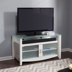 Bush - 45.98 in. TV Stand in Pure White Finish - Adaptable and contemporary design. Three sides open compartment. Component friendly space. Rounded elliptical quarter turned corner. Durable frosted glass top shelf. Two partly framed frosted glass doors. Adjustable bottom shelf. Solid back panel. Chrome plated metal door. Wire management zip ties and pass through slots. Compatible with stabiliBar TV wall brace. Wipe clean. Holds TVs up to 50 in. or 117 lbs.. Warranty: One year. Made from particleboard and laminates. 45.98 in. W x 22.80 in. D x 24.65 in. H (110 lbs.). Installation Guide