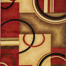 """Infinity Home Source - Barclay Arcs & Shapes Red 7'10"""" x 9'10"""" Infinity Home Area Rug (54780) - With an array of patterns drawn from a carefully selected palette of Modern, European, and Persian styles, this collection features warm jewel and smooth neutral tones machined in heavy, heat-set polypropylene fiber. With the look and feel of an authentic handmade area rug the Barclay Collection is classic sophistication with modern sensibility."""