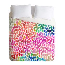 DENY Designs - DENY Designs Garima Dhawan Rain 5 Duvet Cover - Lightweight - Turn your basic, boring down comforter into the super stylish focal point of your bedroom. Our Lightweight Duvet is made from an ultra soft, lightweight woven polyester, ivory-colored top with a 100% polyester, ivory-colored bottom. They include a hidden zipper with interior corner ties to secure your comforter. It is comfy, fade-resistant, machine washable and custom printed for each and every customer. If you're looking for a heavier duvet option, be sure to check out our Luxe Duvets!