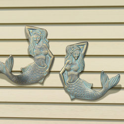 Frontgate - Mermaid Towel Hooks - Choose a left- or right-facing tail to create a custom look. Use individually or in groups. Made of aluminum with a powdercoat finish. Suitable for wet conditions, indoors or out. Damp towels or swimsuits have a particularly pretty place to dry with our Mermaid Towel Tail Hook. Beautifully detailed, each hook is shaped from rust-resistant cast aluminum with a powdercoat finish for all-weather durability.  .  .  .  . Made in USA.