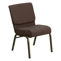 Flash Furniture - Hercules Series 21'' Extra Wide Brown Church Chair With 4'' Thick Seat - Gold Ve - This HERCULES Series Church Chair will add elegance and class to any Church, Hotel, Banquet Room or Conference setting. If you are looking for a chair with comfort and style that is easy to move and stores away with ease, then look no further. This built to last chair has a 16-gauge steel frame that has been tested to hold 800 lbs. This church chair features double support bracing, ganging clamps, a cushion that graduates to a 5'' thick waterfall edge and plastic floor glides to protect non-carpeted floors. Our church chair is manufactured by one of the most reputable stack chair manufacturers in the industry, you can be assured of the quality of this chair offered to you.