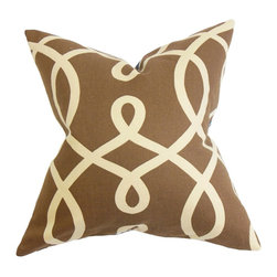 """The Pillow Collection - Chloris Geometric Pillow Brown 18"""" x 18"""" - Go bold with your decor scheme by adding this geometric accent pillow. This square pillow looks great on its own, and it can also be layered with patterns and solids. This unique decor features a brown-hued background and a neutral geometric pattern. Toss this 18"""" pillow on your sofas, beds or floor for a contemporary look. Made of 55% cotton and 45% linen material. Hidden zipper closure for easy cover removal.  Knife edge finish on all four sides.  Reversible pillow with the same fabric on the back side.  Spot cleaning suggested."""