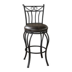 Arvada Stool - You'll love the construction of this chair. Comfortable seat, supportive back, solid and dependable — made to slide right under your countertop bar. Hope you like kibitzers in the kitchen!