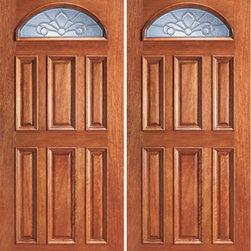 "Mahogany Fan Lite Exterior Double Door, Insulated Beveled Glass - SKU#103-2BrandAAWDoor TypeExteriorManufacturer CollectionUnique Entry DoorsDoor ModelDoor MaterialWoodWoodgrainMahoganyVeneerPrice1604Door Size Options2(30"") x 80"" (5'-0"" x 6'-8"")  $02(32"") x 80"" (5'-4"" x 6'-8"")  $02(36"") x 80"" (6'-0"" x 6'-8"")  +$402(42"") x 80"" (7'-0"" x 6'-8"")  +$3802(30"") x 96"" (5'-0"" x 8'-0"")  +$5002(36"") x 96"" (6'-0"" x 8'-0"")  +$5202(42"") x 96"" (7'-0"" x 8'-0"")  +$1300Core TypeSolidDoor StyleTraditionalDoor Lite StyleFan LiteDoor Panel Style6 Panel , Raised MouldingHome Style MatchingColonial , Plantation , VictorianDoor ConstructionEngineered Stiles and RailsPrehanging OptionsPrehung , SlabPrehung ConfigurationDouble DoorDoor Thickness (Inches)1.75Glass Thickness (Inches)3/4Glass TypeTriple GlazedGlass CamingBlackGlass FeaturesInsulated , TemperedGlass StyleGlass TextureGlue ChipGlass ObscurityModerate ObscurityDoor FeaturesDoor ApprovalsFSCDoor FinishesDoor AccessoriesWeight (lbs)680Crating Size25"" (w)x 108"" (l)x 52"" (h)Lead TimeSlab Doors: 7 daysPrehung:14 daysPrefinished, PreHung:21 daysWarranty1 Year Limited Manufacturer WarrantyHere you can download warranty PDF document."