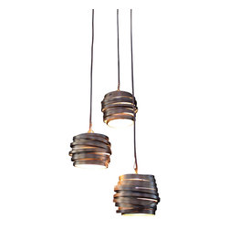 "Bodner Chandeliers - Orbit Three Pendant - Three pendant light with mini-bi-pin halogen 12v lamps. Hand sculpted in steel with a hand rubbed antique bronze finish gilt with hand rubbed gold on the interior. UL listed for indoor use. Each pendant is 5"" dia, is hung at different levels and has an overall spread of 18""dia, they suspend from cables with an overall drop of 44"" (can be shortened). Dimmable transformer provided for 110v. Up to 60 watts"