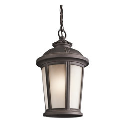 Kichler Lighting - Kichler Lighting Ralston Transitional Outdoor Hanging Light X-ZR21494 - From the Ralston Collection, this Kichler Lighting outdoor hanging light features European detailing and gentle tapering that pair beautifully with the classic cylindrical shape. The Rubbed Bronze finish emphasizes the finer details of the cast aluminum frame while a satin etched glass shade pulls the look together.