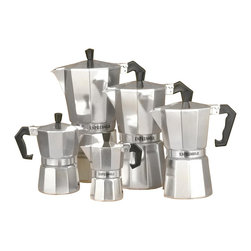 La Pavoni - Traditional Aluminum Stove Top Espresso Maker Set - Includes 5 Espresso maker. Bakelite handles. Angle cut edges. Smooth inside and out. Heavy duty cast of aluminum. Chrome finish. Cup capacity:. 1 Cup: 5 in. H. 3 Cups: 6 in. H. 6 Cups: 9 in. H. 9 Cups: 10 in. H. 12 Cups: 11 in. H