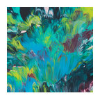 ecofirstart - Orchids - Go green (and blue, burgundy and pink) with this ecofriendly painting. The one-of-a-kind original is composed of repurposed acrylic that's rescued by the artist before it gets sent to the landfill. A great piece for your art collection, use it to add a contemporary touch to your interiors.