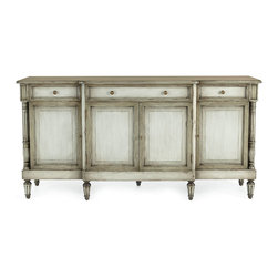 John-Richard Collection Ocala Console - European in style, this country breakfront console features inset columns at each end and rests on fluted, turned legs. It works nicely as a sideboard as well.