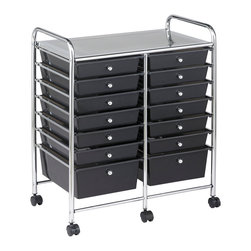 Ecr4kids - Ecr4Kids Small Toys Scrapbook Craft Kits Storage Organizer 14 Drawers - This practical organizer can hold just about everything from art and crafts projects to office supplies or even hand tools With its 14 drawers, its perfect for the home or office. Polypropylene drawers easily slide in and out on the chrome plated steel frame rails. This double-wide, multi-purpose organizer glides effortlessly under most tables or desks on 6-swivel casters (2-locking).