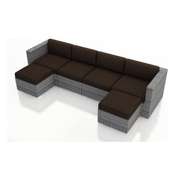 Harmonia Living - Urbana 6 Piece Wicker Sectional Set, Weathered Stone Wicker, Coffee Cushions - The incredibly versatile Harmonia Living Urbana 6 Piece Modern Patio Wicker Sectional Sofa Set with Brown Sunbrella cushions (SKU HL-URBNWS-6SECT-CO) is designed to be arranged in dozens of configurations. This patio sectional set is a practical choice for those who love to entertain outdoors. The brushed aluminum feet and bold clean lines on each furniture piece give this set a modern look. The resin wicker has a rich textured look that rivals natural rattan wicker while being significantly more durable. Its durable, reinforced aluminum frames and fade-resistant High-Density Polyethylene (HDPE) wicker keep this set looking great for years and years. Few modern patio sectional sofa sets offer this level of quality and design at such an affordable price.