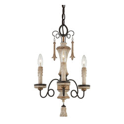 """Frontgate - Provence Mini Chandelier - Three-light chandelier elegantly finishes small spaces. White patina finish complemented by gold-finished accents and silver patina glass. Uses 60-watt max candelabra bulbs. Fixture is dimmable. 72"""" chain length. A dose of delicate elegance for breakfast nooks and other cozy spaces, our French Country-style Provence Mini Chandelier is handpainted with a Provencal blanc distressed white finish. Thin spirals of wrought iron stretch away from the beautifully turned wood-grained column, accented with gold bands.  .  .  .  .  . Adjustable height ."""