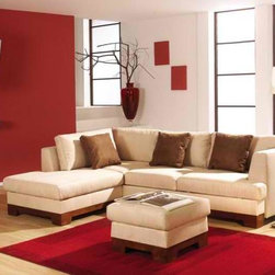 IQ Furniture - Contempoary European Sectional with Bed and Storage