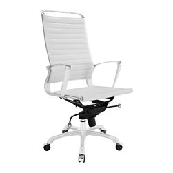 """Tempo Highback Office Chair - Skip to a beat that your life's ambitions deserve. Tempo is a supercharged modern office chair that comes outfitted with all the amenities of its more stolid counterparts. The polished chrome-plated aluminum armrests portray a spirit on the rise, even as your arms find themselves properly positioned for the tasks at hand. The ribbed vinyl high-back and seat pattern help evenly disperse your body's weight, while instilling a look that imbues momentum and a love for life. Tempo comes equipped with a tension control knob and tilt lock to further personalize the chair, while the pneumatic chair lever easily adjusts the chair's height. The 360 degree swivel will also keep your inner """"kid"""" entertained at all times as well. Additionally, the hooded aluminum base comes equipped with five dual-wheeled casters for easy gliding over carpeted surfaces. Whether you are looking to buy one for yourself, or one-hundred for your office, Tempo is a chair that enhances productivity in the most natural ways possible."""