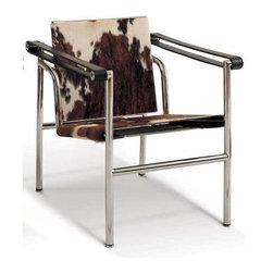 Advanced Interior Designs - Corbusier LC1 Sling Chair - Cowhide - Le Corbusier LC1 Sling Chair features tubular steel chrome frame, this state of the art modern chair creates an air of elegance and class. The Sling Chair allows the user to choose the most comfortable posture for rest of work. The reclining back provides continuous comfort and support in different working positions. The Pony hide displays random combination of black, brown and white patterns. Its distinct look adds instant character to both traditional and modern decors.